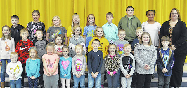 The following children were chosen as November Students of the Month at Lynchburg-Clay Elementary. The students were chosen by their teachers for displaying positive behavior, being responsible and respectful, doing good deeds as well as working hard on their school work, and for being a positive role model for others. Ponderosa of Hillsboro donated a kids meal and Terry's Pizza and Grocery of Lynchburg donated an ice cream coupon to the students. Pictured are (front row, l-r) Emmitt Holden (PS), Rhonda Turner (K), Lilah-Grace Covert (K), Caisyn Jones (K), Tyleigh Swearingen (K), Blake Osborn (1), Sophia Shrader (1), Zaiden Mahoney (1), Hayden Patton (1) and Noah Gadwa (1). (second row, l-r) Sophia Warne (2), Korbin Williams (2), Ovie Blankenship (2), Adriana Pack (2), Hailey Hively (3), Camryn Hubbard (3), Brody Lykins (3), Austin Doll (3) and Principal Mrs. Godby. (third row, l-r) Peyton Wallace (4), Taylor McLaughlin (4), Ali Chapman (4), Lily Ferguson (4), Sadie Knisley (5), Austin Manning (5), Elijah Dabbs (5) and Na'Kaia McKinney (5). Not pictured are Lulu Jordan (PS) and Camren Clanton (2).