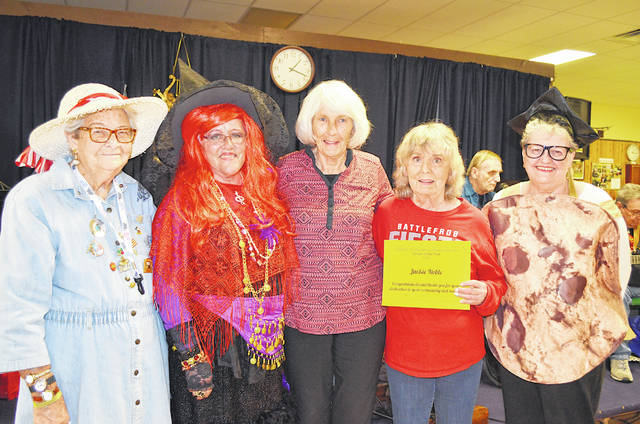 "The 2019 Highland County Senior Citizens Center Senior of the Year, Jackie Noble, is pictured with previous seniors of the year. Pictured, from left, are Jeannette Knauff, Sue Thornhill, Sara Burnett, Noble and Gerri Pierson. Senior of the year is voted on by the members and was announced at the annual Healthy Halloween: Senior Health and Information Expo. More than 150 seniors attended the free event with 28 local businesses providing information and giveaways. Noble has been a member of the center for four years and has made a positive impact. She volunteers to help with fundraisers, helps clean the center, assists in the kitchen and anything the center need help with, she is there. She cares about others. ""She is a good friend to all and we're blessed to have her part of our membership,"" Senior Center Executive Director Mechell Frost said."