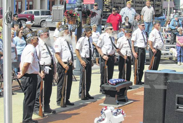 Members of the Highland County Veterans Honor Guard are pictured during a past Memorial Day observance in Hillsboro.