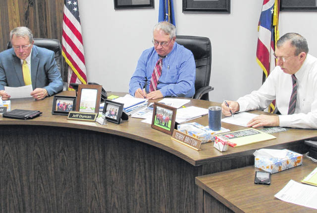 A light agenda greeted the Highland County commissioners Tuesday afternoon. Shown, from left, are Gary Abernathy, Jeff Duncan and Terry Britton.
