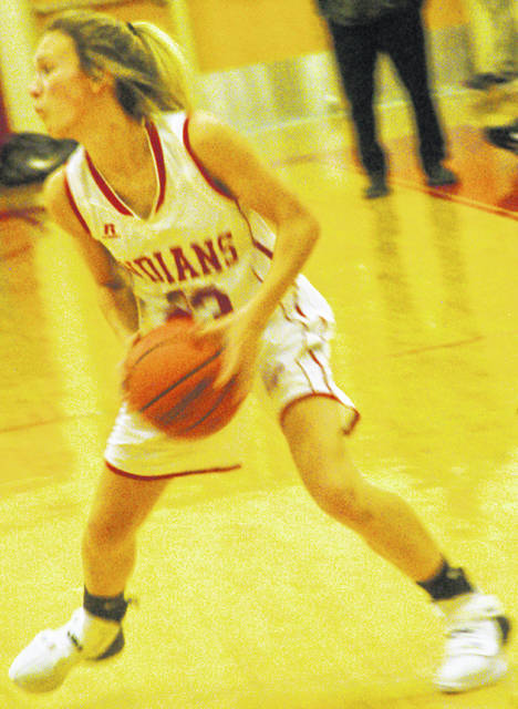 Lady Indians Bryanna Bledsoe led with 14 points for the team in the loss against Fayetteville-Perry shown in photo above.