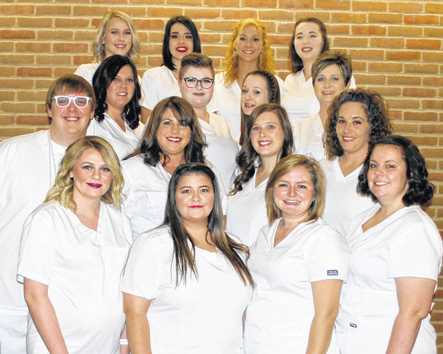 The newest graduates of the practical nursing program at Southern State Community College include (first row, l-r) Hannah Unger, Tiffany Moore, Melanie Wuebben, Sarina Brioli; (second row, l-r) Markus Chris Cockerham, Jessica Waldbillig, Syren Closser, Courtney Goddard; (third row, l-r) Megan Thompson, Savanna Davis, Candice Wright, Brandi Loury; (fourth row, l-r) Amy Jarman, Mikayla Minnix, Juliana Patton, Alisa Mason.