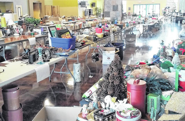 This is a picture inside of Good News Gathering before last year's Christmas Free Sale.