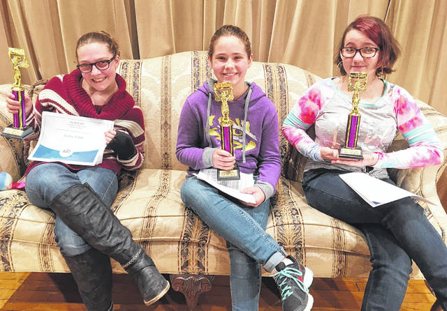 The Greenfield Middle School Spelling Bee took place on the morning of Monday, Nov. 25in the McClain Auditorium. The first place finisher was Olivia Stegbauer (center), The second place finisher was Jaylee Little (left) and third place was awarded to Skylar Mazo.