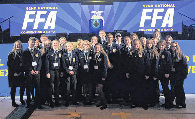 Members of the Hillsboro FFA Chapter pose in the Convention Hall. Pictured: Zinny Adams, Alora Brown, Breanna Cooper, Katie Craig, Caleb Crawford, Kaylee Earley, Trinity Edenfield, Ben Florea, Erin Hedges, Joe Helterbrand, Ashlie Hillyer, Jessica Howland, Jaiden Hughes, Casey Jordan, Ashley Kimball, Ryan Mau, Joelynn McTaggart, Clara Page, Brogen Priest, Riley Stratton, Kelcie Thornburg, Hannah Hopkins.