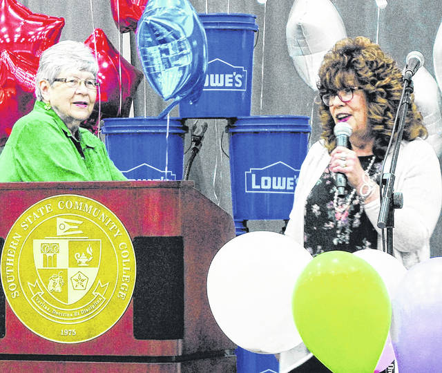 The Times-Gazette's Sharon Hughes, right, is pictured with Homemakers Show co-host Leslie Ramsey.