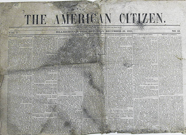 """This is a picture of a Dec. 22, 1855 edition of The American Citizen, a """"Hillsborough"""" newspaper that local resident Russ Roland recently shared with The Times-Gazette."""