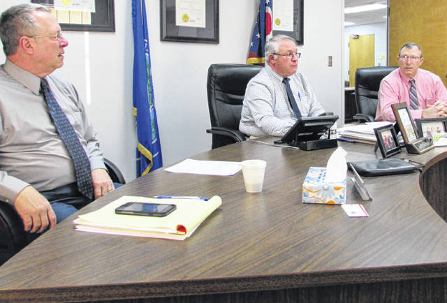 Formulating policy and procedure was the order of business for the first 2020 meeting of the Highland County commissioners. Shown, from left, are Gary Abernathy, Jeff Duncan and Terry Britton.