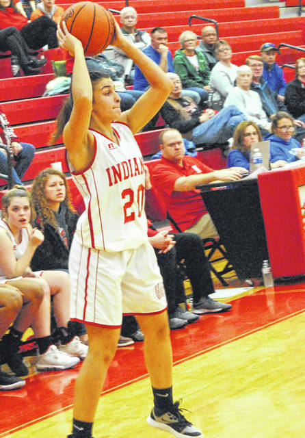 Karleigh Hopkins of the Hillsboro Lady Indians shown in the photo as she is looking for an open opportunity to pass the ball.