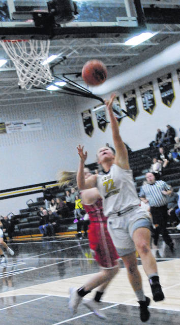 Mustangs' Serena Smith going up for a layup during the 53-25 victory over the Hillsboro Lady Indians on Wednesday, Jan. 8.