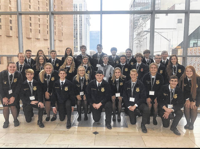 The Fairfield FFA poses for a picture. Back row, from left: Austin Lovitt, Shaleigh Duncan, Hailey Shoemaker, Tucker Watson, Brayden Grooms, Jacob Morgan, Zander Parshell, Logan Rohde, Spencer Crothers. Middle row, from left: Hunter Burns, Liberty Parshell, Zoey Morris, Jami Dailey, Adam Berwanger, Gavin Cox, Owen Larrick, Ryan Donahue, Kylie Fauber. Front row, from left: Paige Teeters, Brayden Zimmerman, Breanna Flint, Reese Teeters, Alexis Tompkins, Caden Shoemaker, Kiley Lamb, Ethan Saunders, Harley Flint, Kohler Bartley, Allyce McBee.