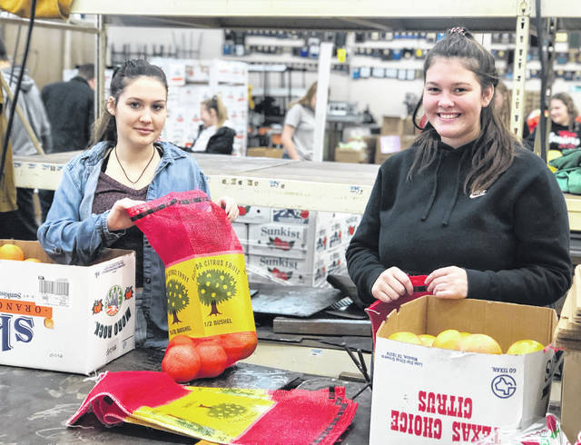 Lora Mayhan, left, and Claire Wilkin of the Hillsboro FFA Chapter are pictured bagging fruit that will be delivered to the buyers.