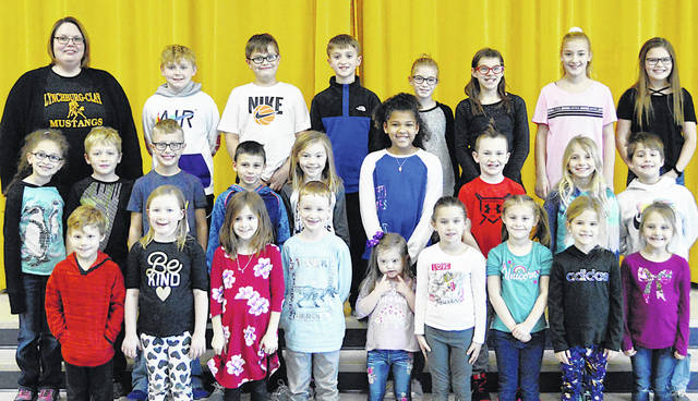 The following children were chosen as Lynchburg-Clay Elementary Students of the Month for January. The students were chosen by their teachers for displaying positive behavior, being responsible and respectful, doing good deeds as well as their school work, and being a positive role model for others. Each student received a certificate from Principal Angela Godby, a key tag necklace, a certificate for a free meal from Ponderosa in Hillsboro, and a certificate for free ice cream from Terry's Pizza in Lynchburg. Pictured are (front row, l-r) Zayne Wilson (1), Marley Jacobs (1), Chloe Pierce (1), Dylan Hudgins (1), Evionna Keyser (PK), Sutton Hibbs (K), Madison Estle (K), Lexi Cordrey (K) and Meela Shaffer (K); (second row, l-r) Rose Powih (2), Ashton Fawley (2), JonahEldridge (2), Damon McPherson (2), Becca McLaughlin (2), Zoey Taylor (3), Jason Butler (3), Jocelyn Vance (3) and Andrew Pack (3); (third row, l-r) Godby, Harley Lewis (4), Noah Eldridge (4), Linkin Barnett (4), Aubrey Jones (5), Charlie Shelton (5), Allyson Jones (5) and Kennedy Burns (5). Absent from picture are Baylor Wells (PK), Dustin Stites (1) and Micah Goings (4).