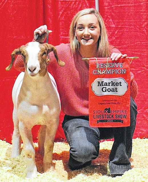 Sarah Young walked into the show ring one last time last Friday at the Sioux Empire Livestock Show in Sioux Falls, S.D. She won Reserve Grand Champion Market Goat. After 13 years, this was a great conclusion to her show career. Young is attending The Ohio State University studying biomedical engineering. Originally from the Leesburg area, Young has won shows across the country and spent much of her younger years raising money for 4-H programs in Highland County.