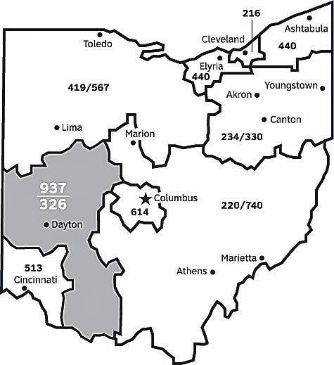This map of Ohio shows the state's various area codes. Callers in the 937 area code will be required to include the area code when placing calls starting Saturday.