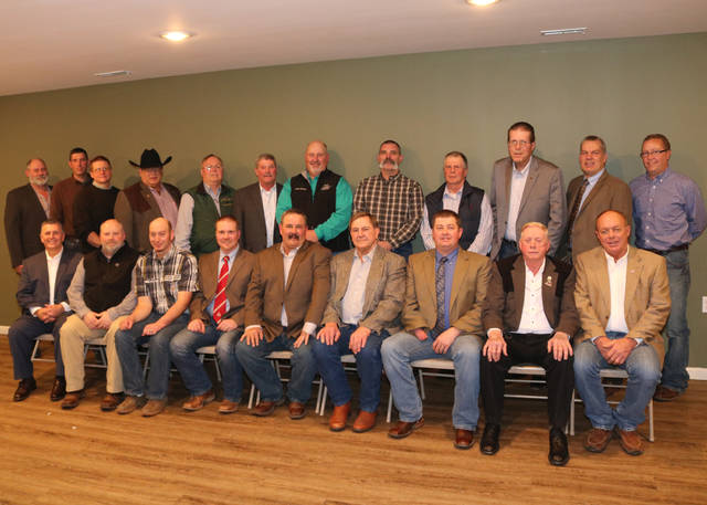 These Angus producers, including John Grimes of Hillsboro, were elected to serve on the Ohio Angus Association Board of Directors and are pictured at the 2020 Ohio Angus Association Annual Meeting and Banquet, Feb. 1 in La Rue, Ohio. Seated from left are Wes Untied, Granville, director; Scott Millikan, Napoleon, director; Shawn Howell, Shelby, director; Allen Gahler, Graytown, treasurer; Todd Raines, Seaman, president; Keith Kauffman, Danville, vice president; Daniel Wells, Frankfort, executive secretary; Joseph Sanders, Harrod, chairman of the board; and John King, Tiffin, director. Directors standing from left are Nick Wagner IV, Attica; Michael Atterholt, Jeromesville; John Hall, Cardington; Kelvin Egner, Shelby; Henry Bergfeld, Summittville; Jay Clutter, Wapakoneta; David Felumlee, Newark; David Baird, Washington Court House; Fred Penick, Hebron; Grimes; Tim Harsh, Radnor; and Dan DeMeyer, West Union. Photo by Alex Tolbert, American Angus Association.