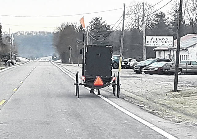 This Amish buggy was northbound on U.S. Route 62 Monday morning.