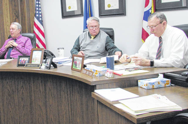 Shown, from left, are Highland County commissioners Gary Abernathy, Jeff Duncan and Terry Britton during Wednesday's regular weekly meeting.