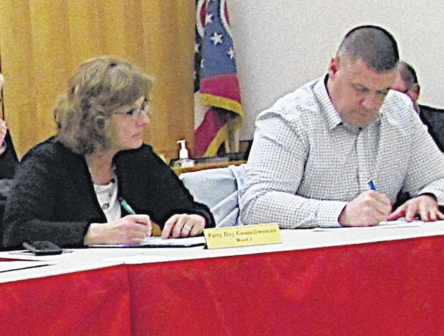 Hillsboro City Council members Patty Day, left, and Brandon Leeth are pictured at Monday's meeting.