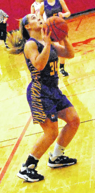 Emma Stegbauer of McClain going up for a shot attempt during a game earlier in this season.