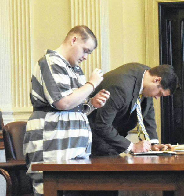 Kevin Noe Jr., left, and his appointed attorney, Matt Suellentrop, appear in Clinton County Common Pleas Court on Tuesday.