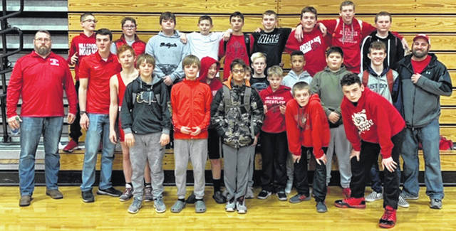 Hillsboro Middle School wrestling team after placing second at the FAC Wrestling tournament.