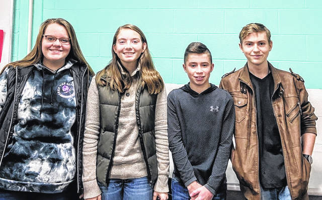 """Fairfield High School students Ariel Hayslip, Grace Matthews, Chaise Reffitt and Ethan Yates wrote this piece because, """"we thought our community should see what the sixties were truly like for the African American citizens. We think the people of Highland County should see what kind of bravery and courage was shown in order to get the justice these people deserve."""" Picture, from left, are Ariel Hayslip, Grace Matthews, Chaise Reffitt and Ethan Yates."""