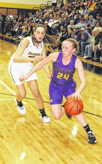 McClain junior Kyla Burchett driving around Miami Trace freshman Gracey Ferguson, during the 57-48 loss to Miami Trace.