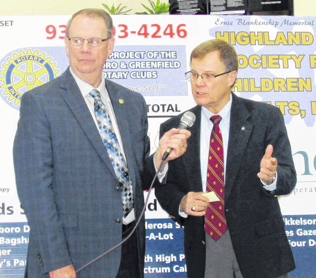 Rick Williams, left, and Rocky Coss are pictured at a past Ernie Blankenship Memorial Radio-Telethon for the Highland County Society for Children and Adults.