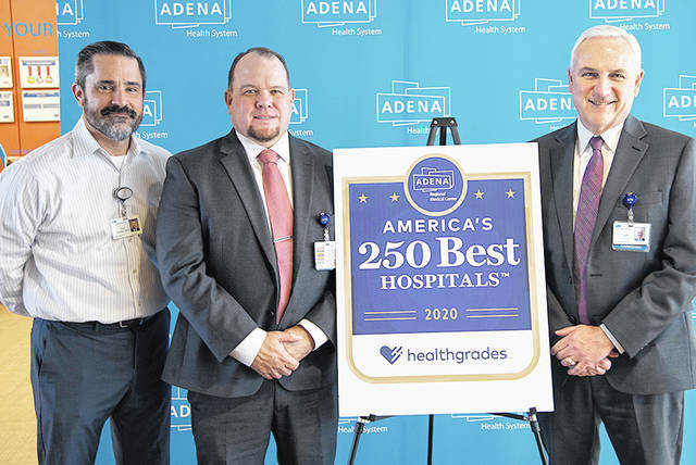 Pictured, from left, are Adena Chief Clinical Officer Dr. Kirk Tucker, Vice President of Quality and Safety Rhett Holland and President and CEO Jeff Graham.