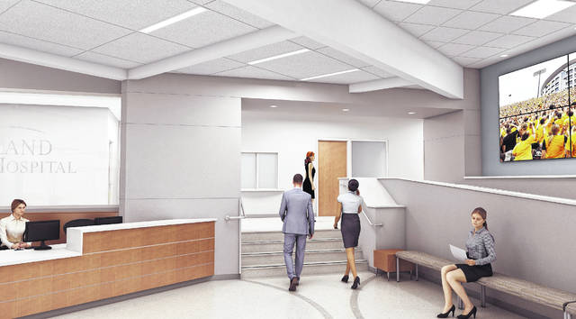 This artist's rendering shows the interior of part of the three new areas at Highland District Hospital in Hillsboro that are expected to open Monday, March 23.