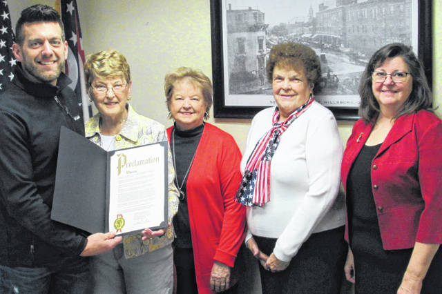 In observance of the Hillsboro Waw-Wil-A-Way chapter of the Daughters of the American Revolution coming into existence on March 19, 1895, Hillsboro Mayor Justin Harsha issued a proclamation Monday declaring March to be the 125th anniversary of Waw-Wil-A-Way Chapter of NSDAR Month in the city of Hillsboro. Attending the ceremony were, from left, Harsha, organization regent Jane Stower, new member Vicki Knauff, chaplain Janet Florence and vice regent Elissa Zornes.
