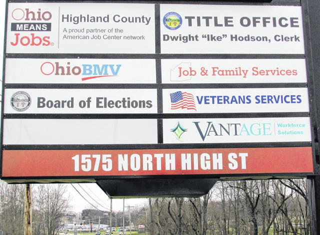 A sign at the Hi-Tech Center on North High Street in Hillsboro details the offices headquartered there. The Ohio Department of Job & Family Services said it was gearing up for a surge in unemployment claims due to workers furloughed by the COVID-19 pandemic.