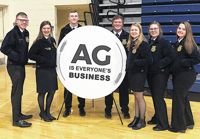 On Feb. 24, Ag is Everyone's Business was held at Southern State Community College. Tickets were $20 and included breakfast. The event was sponsored by the Highland County Chamber of Commerce. Seven of the Hillsboro FFA officers volunteered at the event. The students helped serve food and wait tables. The speaker was Ohio Governor Mike DeWine. FFA members had the opportunity to meet DeWine and get a picture with him. After the speech there were break-out sessions of different ag-related topics. At the end of the event students helped clean up. Pictured, from left, are Scottie Eastes, Alora Brown, Lawton Parry, Joe Helterbrand, Katie Craig, Mallory Parsons and Jaiden Hughes.