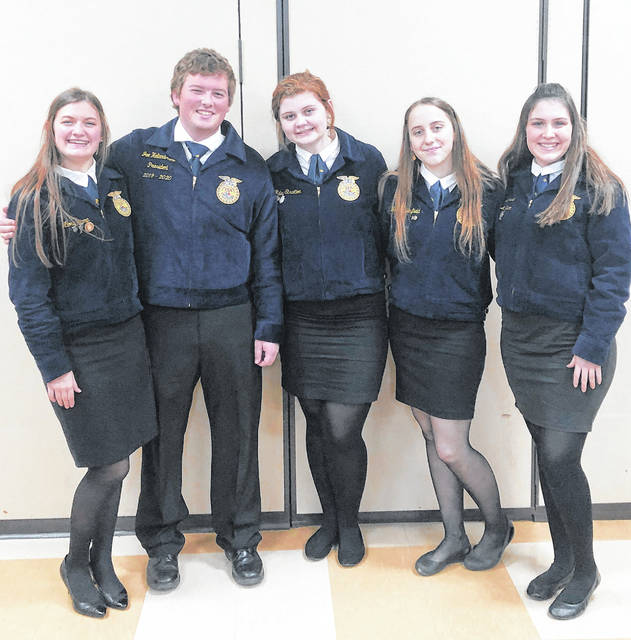 Pictured, from left, are Alora Brown, Joe Helterbrand, Riley Stratton, Trinity Edenfield and Loraleigh Mayhan.