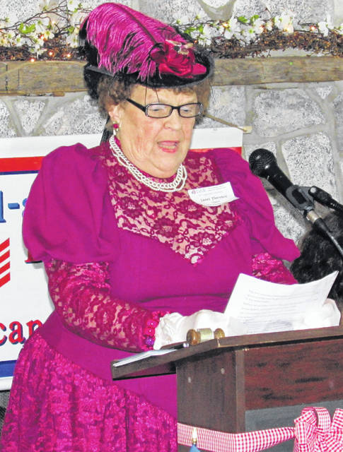 The local Waw-wil-a-way chapter of the Daughters of the American Revolution celebrated its 125th anniversary Saturday at the Ponderosa Banquet Center in Hillsboro. Chapter Chaplain Janet Florence appeared in period attire to share with the crowd a brief history of the United States of 1895.