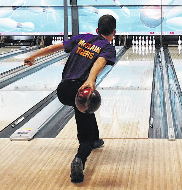 Robert Lanning is pictured at Highland Lanes as he prepares to knock down some pins.