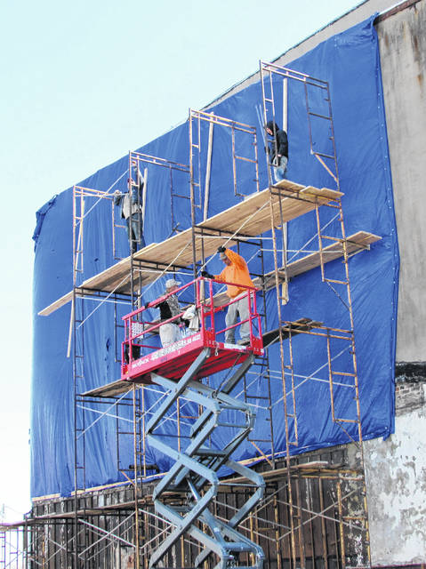 "Scaffolding was erected Wednesday morning for what was described as ""shoring up"" work on the western wall of the Parker House, which divided it from where the Parker Hotel once stood."