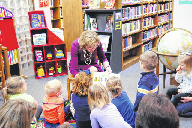 Ohio First Lady Fran DeWine reads to children at the Highland County District Library in Hillsboro after announcing that Highland County children are now eligible for the Ohio Governor's Imagination Library.