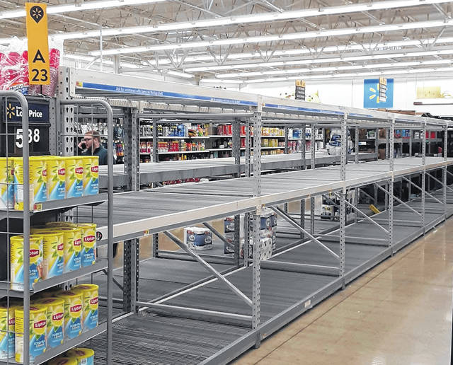 An empty shelf that held toilet paper is what greeted shoppers Monday at the Hillsboro Walmart. Other product shelves were just as empty at Kroger, Save-a-lot and Community Market.