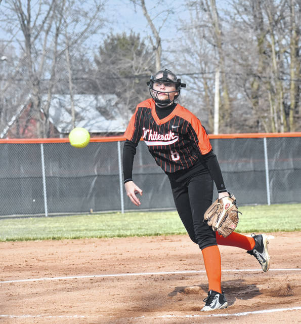 Whiteoak Lady Wildcats junior Alex Greene shown pitching the ball during the 2019 season.