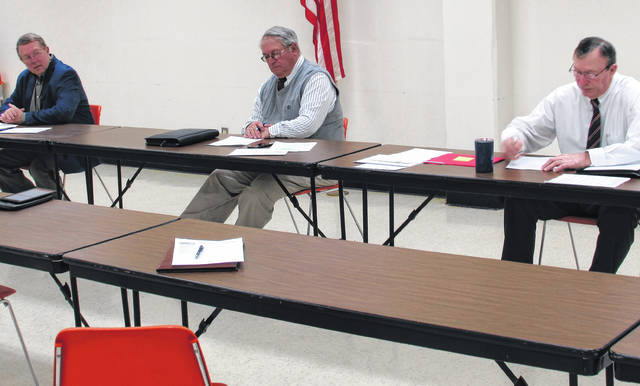 With social distancing still in mind, Highland County commissioners, from left, Gary Abernathy, Jeff Duncan and Terry Britton meet Wednesday morning in the basement meeting room at the Highland County Administration Building.
