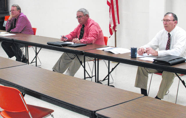 Shown, from left, are Highland County commissioners Gary Abernathy, Jeff Duncan and Terry Britton during Wednesday's regular meeting, still being held in the large basement room of the Highland County Administration Building.