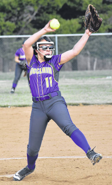 McClain Lady Tigers Josie Crabtree pitching during the 2019 softball season.