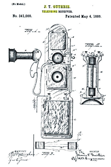 This is a drawing of James T. Guthrie's telephone receiver, patented in 1885.