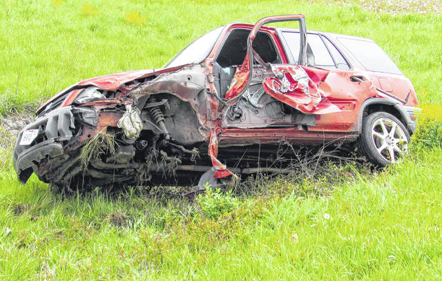 This Honda CR-V, driven by Jessie Carpenter of New Vienna, was severely damaged Friday morning in a two-vehicle crash on Pea Ridge Road northeast of Hillsboro.
