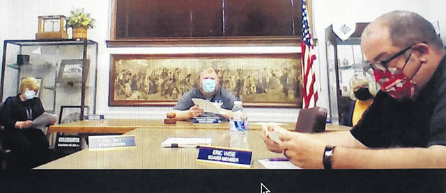 Shown in this screen shot from this week's meeting are Greenfield Exempted Village School Board members (l-r) Sandy Free, Charley Roman, Marilyn Mitchell and Eric Wise. Board members and administration members present were masked and social distancing was observed.