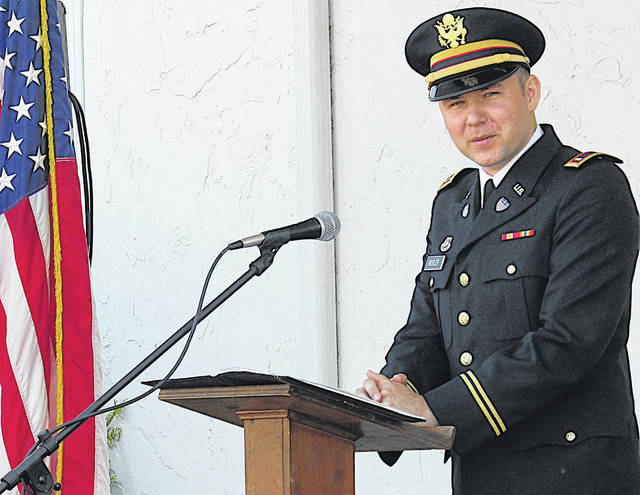 Hillsboro Auditor and U.S. Army Reserve 1st Lt. Alex Butler delivered the keynote address at the Pricetown Church of Christ's Memorial Day ceremony Monday.