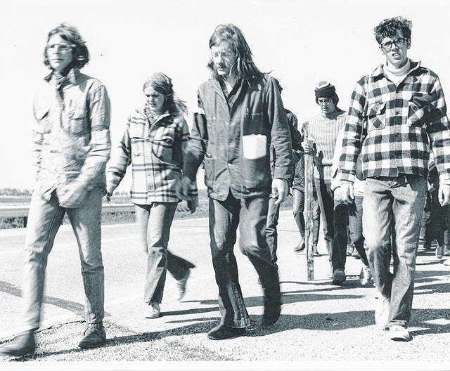 WC students marched 65 miles to Columbus in protest of the Kent State massacre and escalation of Vietnam War into Cambodia.
