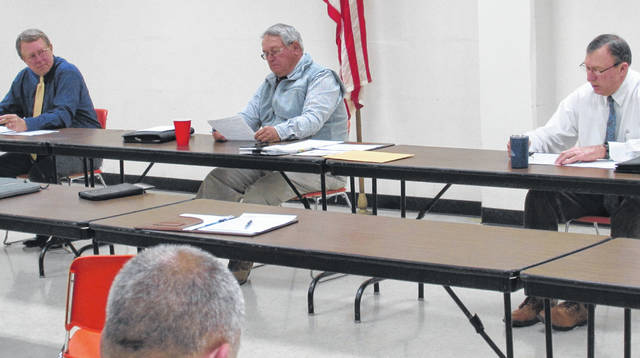 Shown, from left, are Highland County commissioners Gary Abernathy, Jeff Duncan and Terry Britton during Wednesday's regularly scheduled meeting.